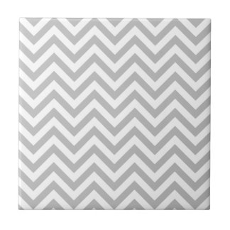 Gray and White Zigzag Stripes Chevron Pattern Tile