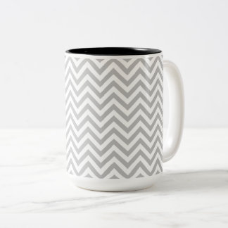 Gray and White Zigzag Stripes Chevron Pattern Two-Tone Coffee Mug