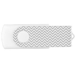 Gray and White Zigzag Stripes Chevron Pattern USB Flash Drive
