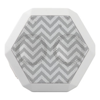 Gray and White Zigzag Stripes Chevron Pattern White Bluetooth Speaker