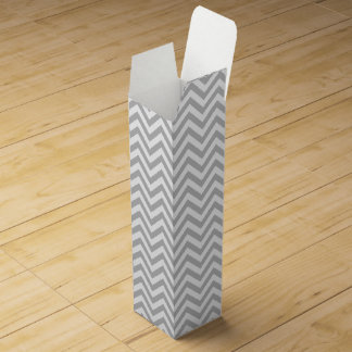 Gray and White Zigzag Stripes Chevron Pattern Wine Gift Box