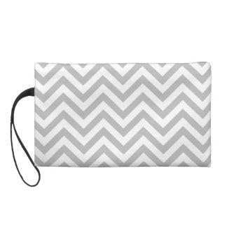 Gray and White Zigzag Stripes Chevron Pattern Wristlet