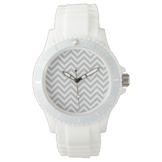 Gray and White Zigzag Stripes Chevron Pattern Wristwatch