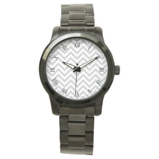 Gray and White Zigzag Stripes Chevron Pattern Wristwatches
