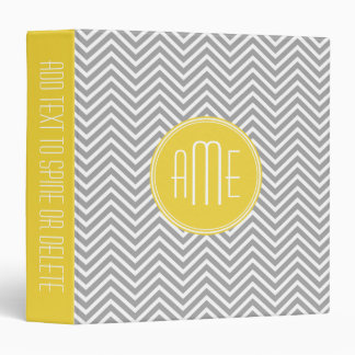 Gray and Yellow Chevrons Custom Monogram Vinyl Binder