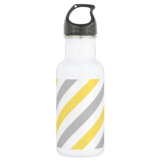 Gray and Yellow Diagonal Stripes Pattern 532 Ml Water Bottle