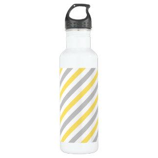 Gray and Yellow Diagonal Stripes Pattern 710 Ml Water Bottle