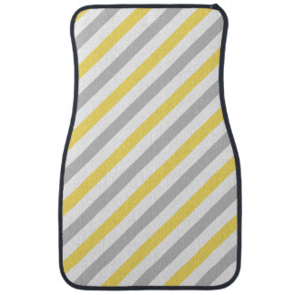 Gray and Yellow Diagonal Stripes Pattern Auto Mat