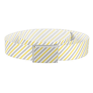 Gray and Yellow Diagonal Stripes Pattern Belt