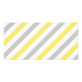 Gray and Yellow Diagonal Stripes Pattern Card