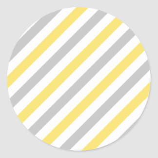 Gray and Yellow Diagonal Stripes Pattern Classic Round Sticker