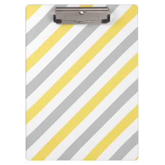 Gray and Yellow Diagonal Stripes Pattern Clipboard