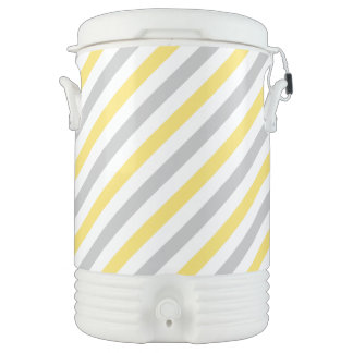 Gray and Yellow Diagonal Stripes Pattern Cooler