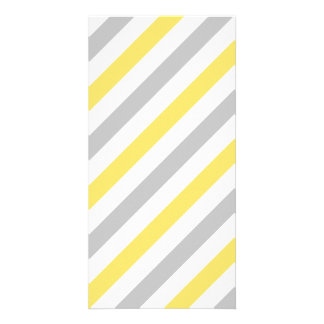 Gray and Yellow Diagonal Stripes Pattern Customized Photo Card