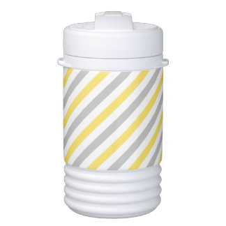 Gray and Yellow Diagonal Stripes Pattern Drinks Cooler