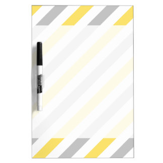 Gray and Yellow Diagonal Stripes Pattern Dry Erase Board
