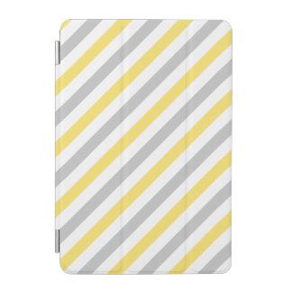 Gray and Yellow Diagonal Stripes Pattern iPad Mini Cover