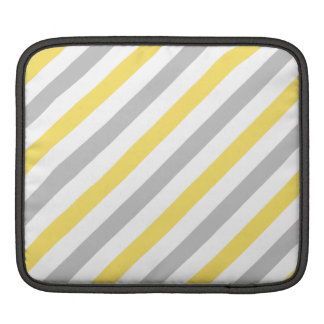 Gray and Yellow Diagonal Stripes Pattern iPad Sleeve