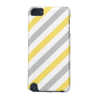 Gray and Yellow Diagonal Stripes Pattern iPod Touch 5G Covers