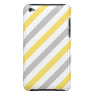 Gray and Yellow Diagonal Stripes Pattern iPod Touch Covers