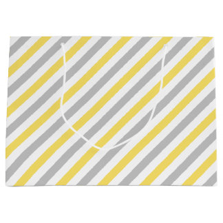 Gray and Yellow Diagonal Stripes Pattern Large Gift Bag