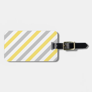 Gray and Yellow Diagonal Stripes Pattern Luggage Tag