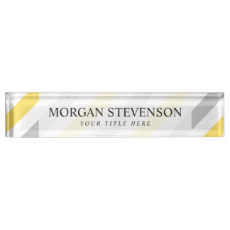 Gray and Yellow Diagonal Stripes Pattern Nameplate