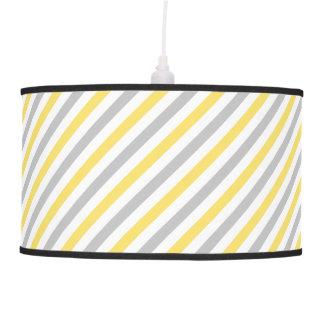 Gray and Yellow Diagonal Stripes Pattern Pendant Lamp
