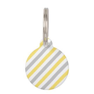 Gray and Yellow Diagonal Stripes Pattern Pet ID Tag