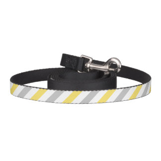 Gray and Yellow Diagonal Stripes Pattern Pet Leash