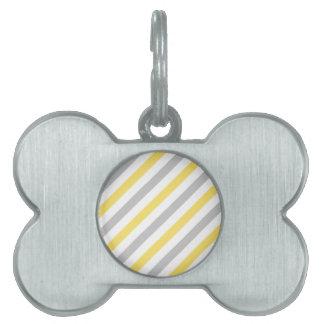 Gray and Yellow Diagonal Stripes Pattern Pet Name Tag