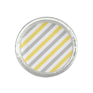 Gray and Yellow Diagonal Stripes Pattern Photo Ring