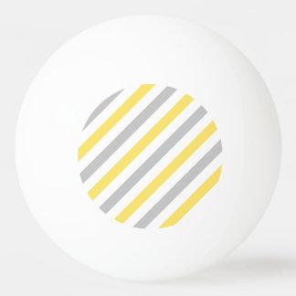 Gray and Yellow Diagonal Stripes Pattern Ping Pong Ball