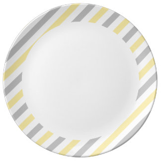 Gray and Yellow Diagonal Stripes Pattern Plate