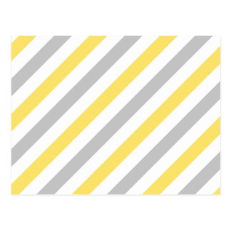 Gray and Yellow Diagonal Stripes Pattern Postcard