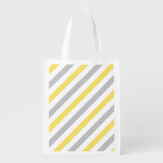 Gray and Yellow Diagonal Stripes Pattern Reusable Grocery Bag