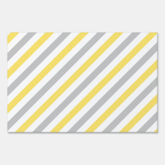 Gray and Yellow Diagonal Stripes Pattern Sign