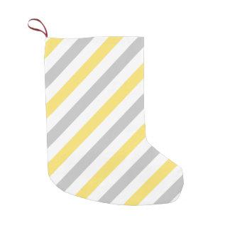 Gray and Yellow Diagonal Stripes Pattern Small Christmas Stocking