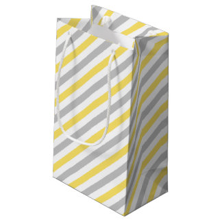 Gray and Yellow Diagonal Stripes Pattern Small Gift Bag