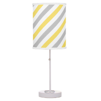 Gray and Yellow Diagonal Stripes Pattern Table Lamp