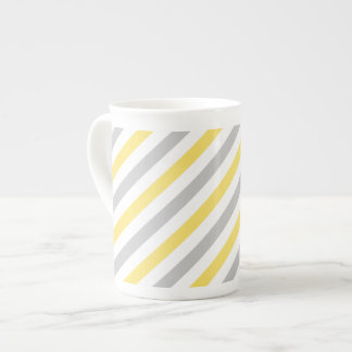 Gray and Yellow Diagonal Stripes Pattern Tea Cup