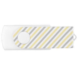 Gray and Yellow Diagonal Stripes Pattern USB Flash Drive