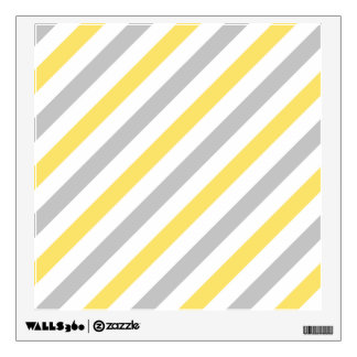 Gray and Yellow Diagonal Stripes Pattern Wall Sticker