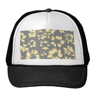 Gray and yellow floral pattern. trucker hat