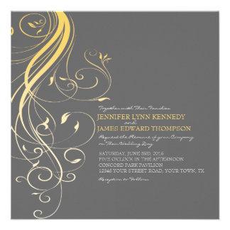 Gray and Yellow Flourish Wedding Invitation