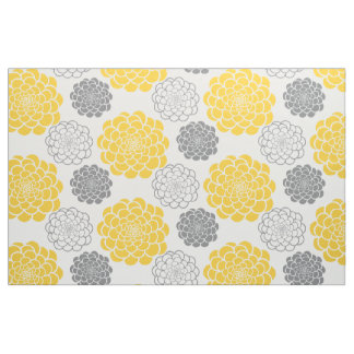 Gray and Yellow Flowers Fabric
