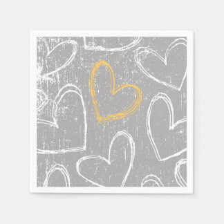Gray and Yellow Grunge Hearts Paper Napkins