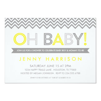 Gray and Yellow Modern Chevron Baby Shower Card