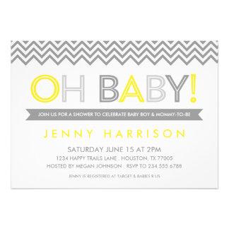 Gray and Yellow Modern Chevron Baby Shower Custom Invite