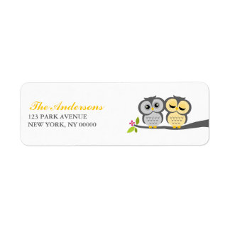 Gray and Yellow Owls Wedding Return Address Label